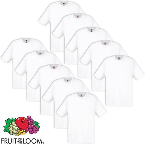 Fruit of the Loom T-shirt maat L 100% katoen 10 stuks (wit)