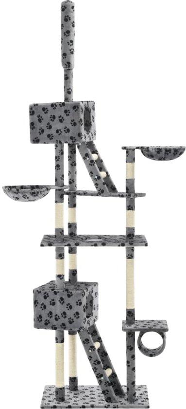 vidaXL Kattenkrabpaal met sisalpalen 230-260 cm pootafdrukken grijs