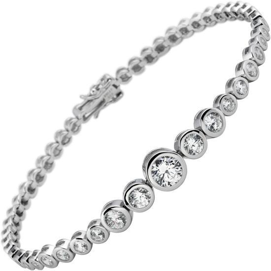 Diamonfire - Zilveren tennisarmband 20 cm - Eternity - Zirkonia - Alliance - Rond