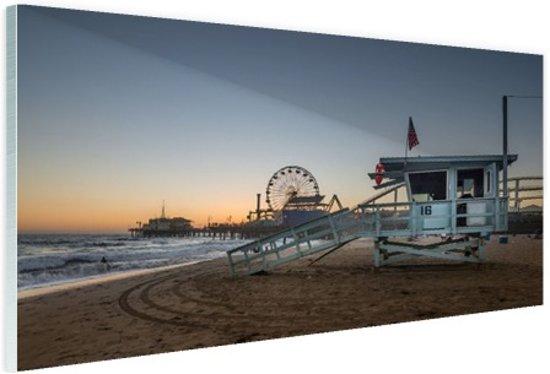 Santa Monica Pier zonsondergang Glas 90x60 cm - Foto print op Glas (Plexiglas wanddecoratie)
