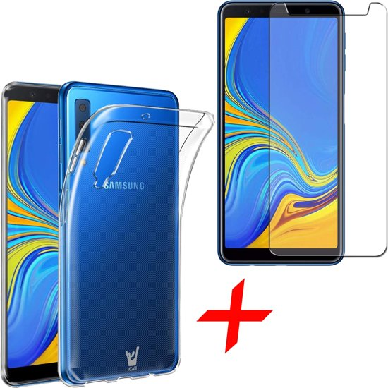 Transparant Hoesje voor Samsung Galaxy A7 (2018) Soft TPU Gel Siliconen Case + Tempered Glass Screenprotector Transparant iCall
