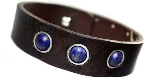 Bela Donaco Heren armband classic W17 - Vintage leder, Lapis Lazuli en Sterling Silver