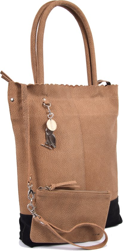 0bda3c88af1 Shopper van 4East met kleine portemonnee, Leren Shopper Zichron 4East bruin