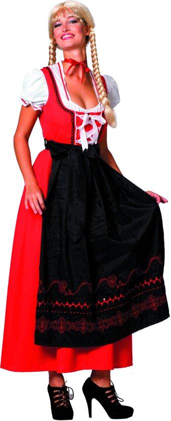 Dirndl lang rood/zwart Maat 42
