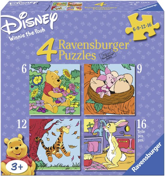 Ravensburger Winnie The Pooh-Winnie,Knorretje…- Vier puzzels -6+9+12+16 stukjes - kinderpuzzel