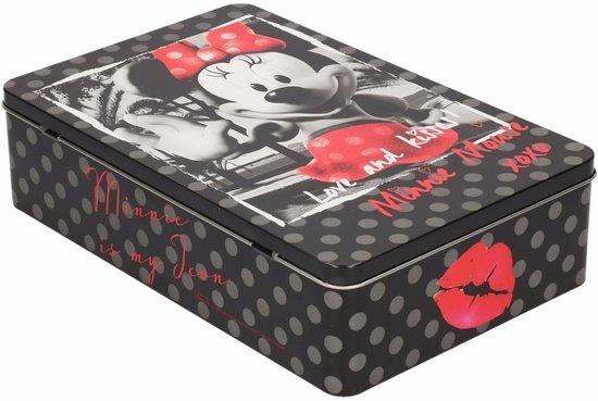 Bewaarblik retro Minnie zwart 28 cm - koektrommel