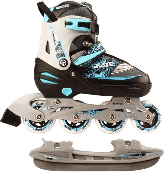 Nijdam Junior Skate/Schaats Combo - Semi-Softboot - Zwart - Maat 35-38
