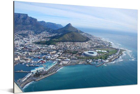 Luchtfoto van het Zuid-Afrikaanse Kaapstad Aluminium 180x120 cm - Foto print op Aluminium (metaal wanddecoratie) XXL / Groot formaat!