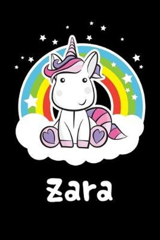 Zara: Personalized Name Notebook Blank Journal For Girls Or Women With Unicorn