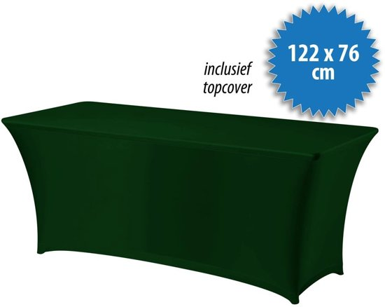 Cover Up Tafelrok Stretch - 122x76cm - Incl. Topcover - Donkergroen