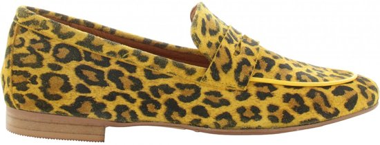 Tango | Pleun new 40-ac p/w yellow suede leopard loafer - black sole | Maat: 37