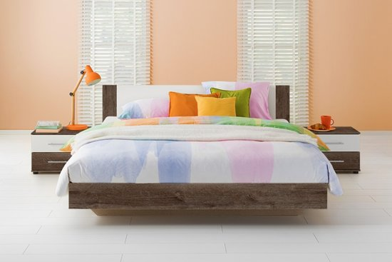 Compleet Bed Incl Matras.Beter Bed Oaklyn Compleet Bed Met Matras En Lattenbodem 140x200cm Donker Eiken Wit