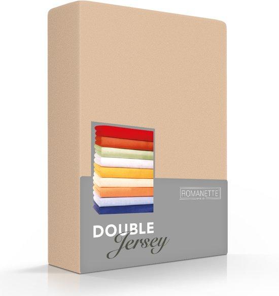 Comfortabele Dubbel Jersey Hoeslaken Zand   200x200  Heerlijk Zacht   Extra Dikke Kwaliteit