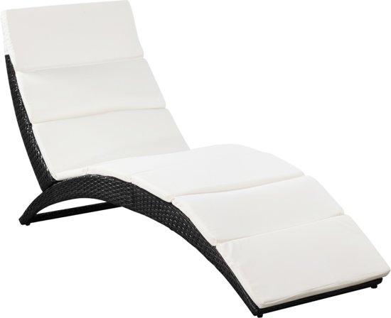 vidaXL Inklapbaar zonnebed met kussen poly rattan zwart