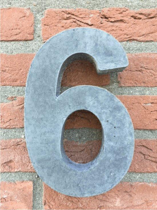 Grote betonnen huisnummer, Hoogte 25cm, huisnummer beton cijfer 6