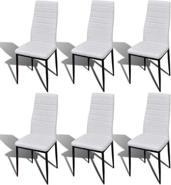 Eetkamerset 6 witte slim line stoelen en 1 for Witte moderne stoelen