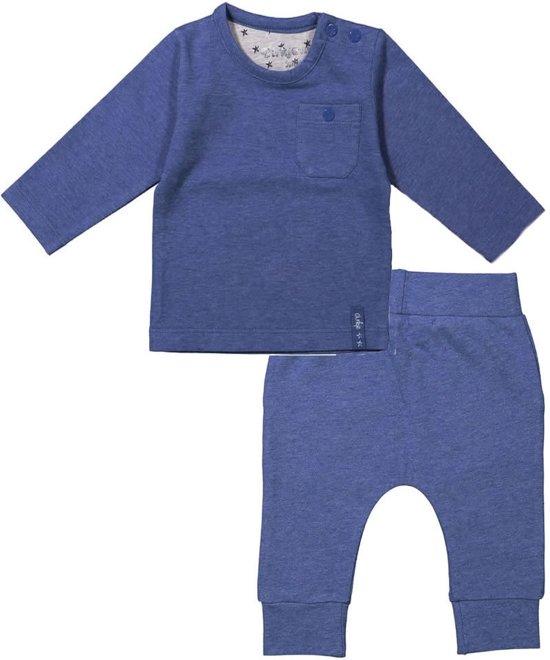 Dirkje Basics Jongens set (2delig) Blauw shirt en Broek Blauw - Maat 56