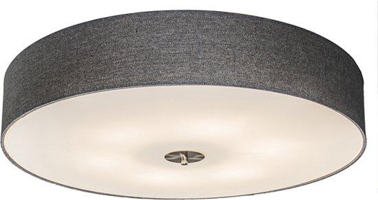 QAZQA Drum 70 - Plafondlamp met lampenkap - 6 Lichts - Ø70 cm - grijs