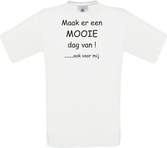 Mijncadeautje - Unisex T-shirt - De Luizenmoeder - Maak er een mooie dag van - Wit (maat L)