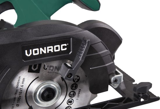 VONROC Accu Cirkelzaag VPower 20V – complete set met accu, sneloplader, zaagblad, parallelgeleider en opbergtas