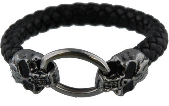 Stoere Skull armband zwart - Gevlochten koord PU Imitatieleer - Dielay