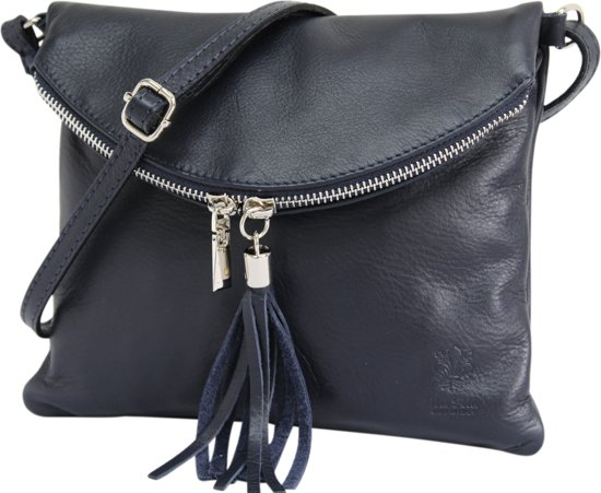554d3b97862 AmbraModa Italiaanse schoudertas crossbody tas dames kleine tas van echt  leer NL610 Donkerblauw