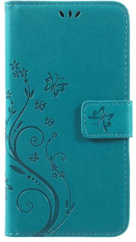 check out d6ad8 ed079 Book Case Hoesje Bloemen Motorola Moto G5 Plus - Lichtblauw