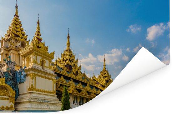 Vooraanzicht van de Gouden Pagode in Rangoon Poster 120x80 cm - Foto print op Poster (wanddecoratie woonkamer / slaapkamer) / Aziatische steden Poster