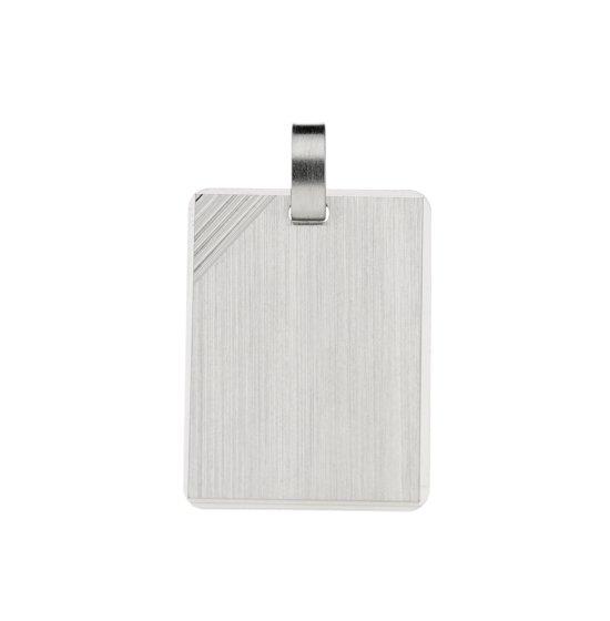 Classics&More hanger - graveerplaatje - zilver - 23 x 17 mm - rechthoek - mat