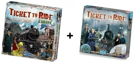 Ticket to Ride Europe + uitbreiding Ticket to Ride UK - Bordspel - Combi Deal