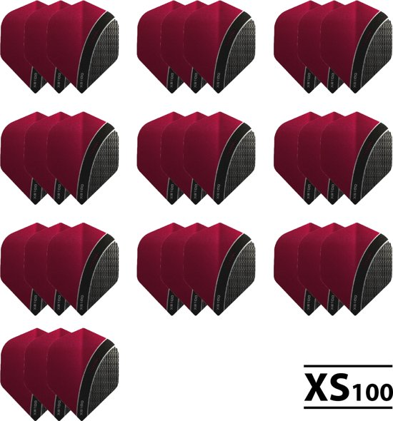 10 - Sets XS100 Curve 100 micron flights - Rood