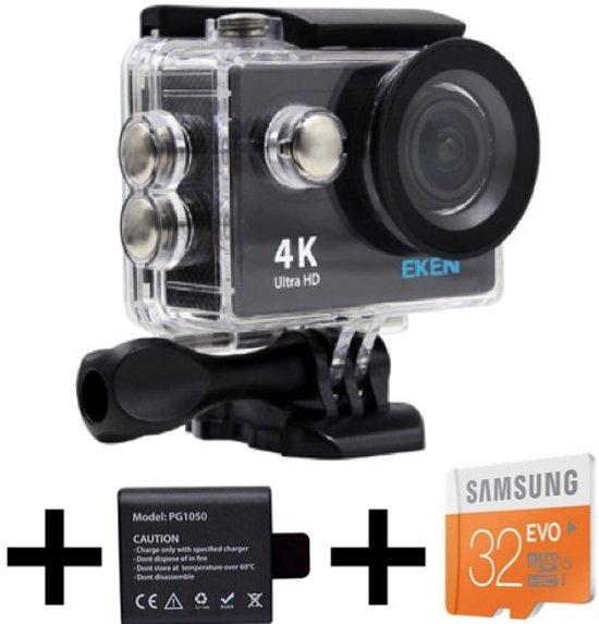 EKEN H9R 4K Ultra HD waterproof action Camera met WiFi & diverse accessoires + 32GB Samsung MicroSD kaart + Extra batterij
