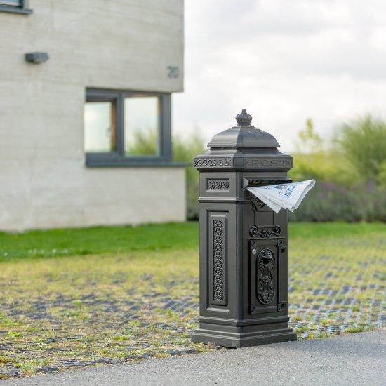 relaxdays Engelse staande brievenbus, Kolombrievenbus antiek design staand Alu zwart