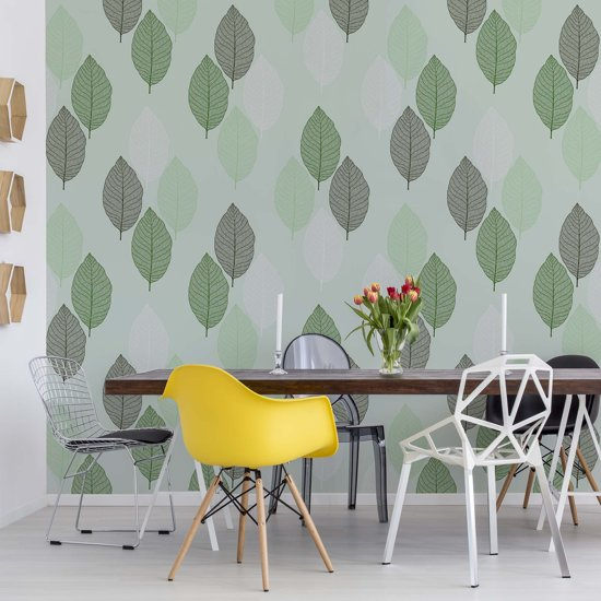 Fotobehang Green Leaves Pattern | V4 - 254cm x 184cm | 130gr/m2 Vlies