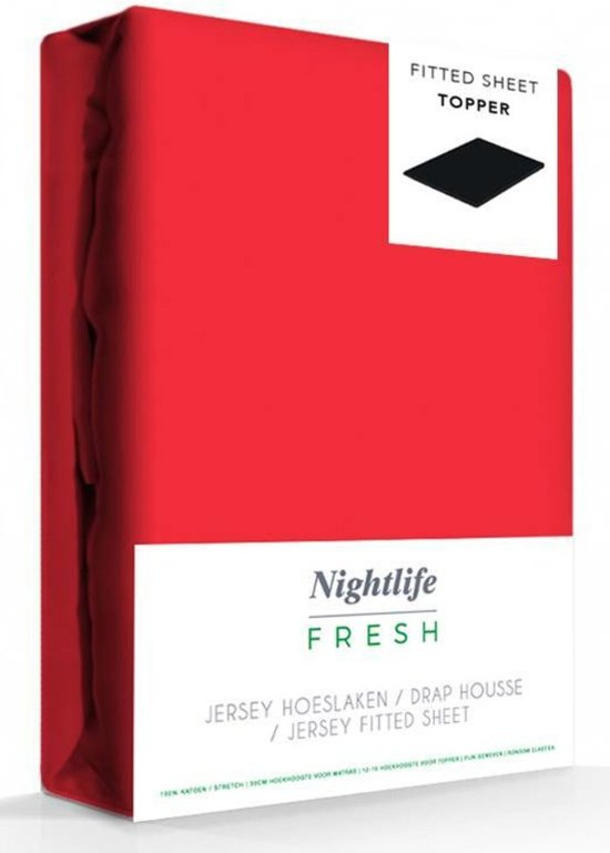Nightlife Hoeslaken topper 150gr 200x200/220+15cm - 100% Katoen (stretch) - Rood