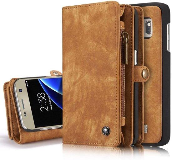 2c6dfc27adb Samsung Galaxy S7 Lederen Portemonnee Hoesje - uitneembaar met backcover  (bruin)