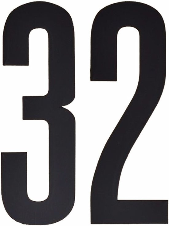Cijfer sticker 32 zwart 10 cm