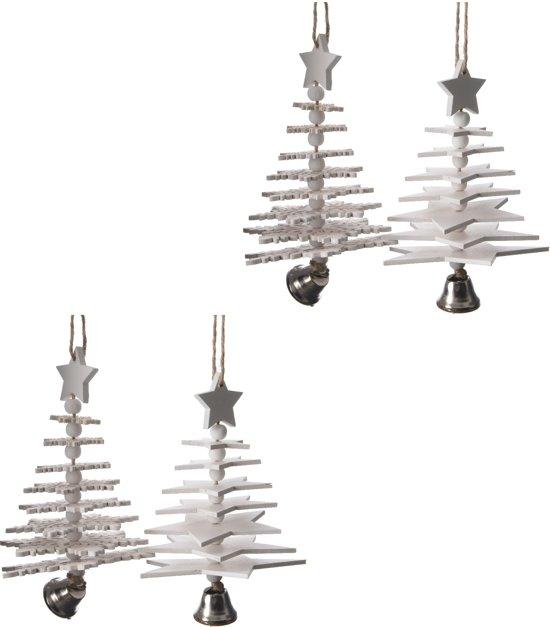 Kerstboomhangers Met Ster (17cm) Box 4 Stuks White