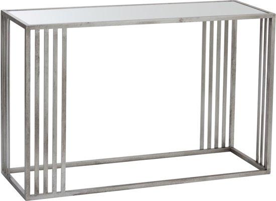 Sidetable Met Glazen Blad.Duverger Silver Sidetable Rechthoekig Glazen Blad Zilverkleurig Metalen Frame