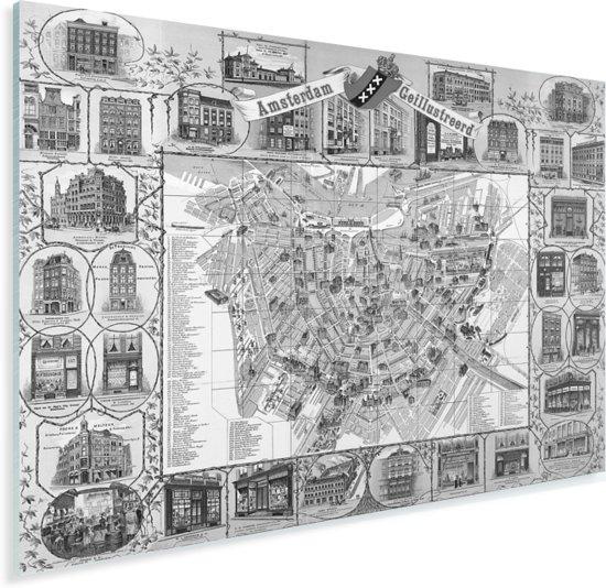 Een zwart-witte historische en gedetailleerde stadskaart van Amsterdam Plexiglas - Plattegrond 80x60 cm - Foto print op Glas (Plexiglas wanddecoratie)