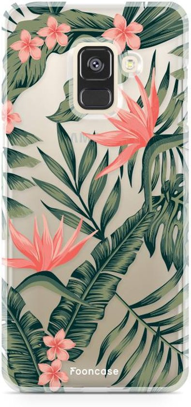 FOONCASE Samsung Galaxy A8 2018 hoesje TPU Soft Case - Back Cover - Tropical Desire / Bladeren / Roze