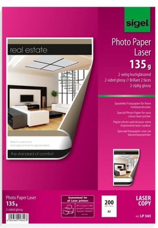 fotopapier Sigel kleurenlaser A3 hoogwit glans 135gr 200vel