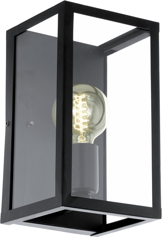 EGLO Vintage Charterhouse - Wandlamp - 1 Lichts - Zwart - Helder