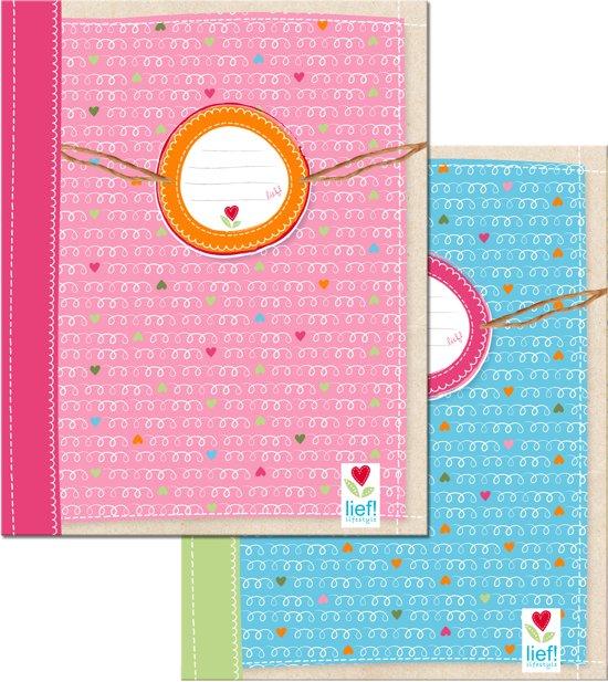 Lief! Schriften - A5 - 40 Bladzijdes - 3 Stuks - Roze/Blauw
