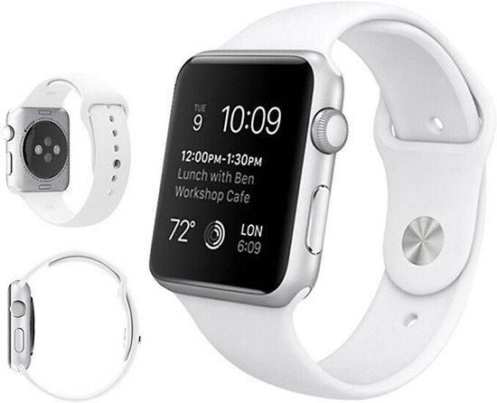 Siliconen Band Voor Apple Watch Series  1/2/3/4 42 MM /44 MM - iWatch Armband Polsband Strap - Wit