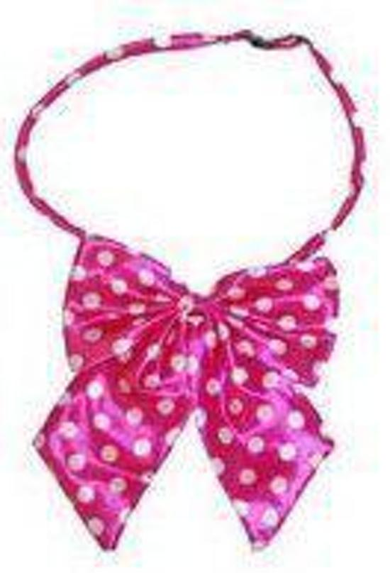 Hals strikje roze met witte stippen