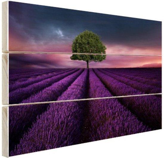 Boom in een paars bloemenveld Hout 80x60 cm - Foto print op Hout (Wanddecoratie)