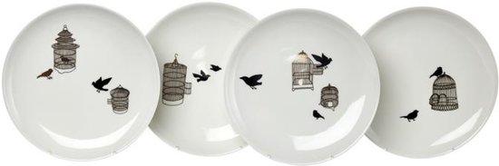 Pols Potten Freedom Birds Bord à 20 cm Set van 4
