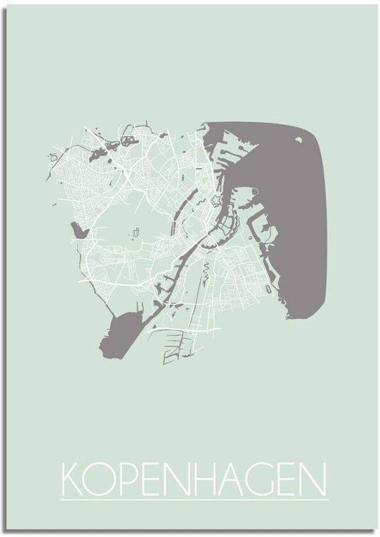 Plattegrond Kopenhagen Stadskaart poster DesignClaud - Pastel Groen - A3 poster