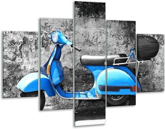 Glas schilderij Scooter, Motor   Grijs, Blauw   100x70cm 5Luik   Foto print op Glas    F007234